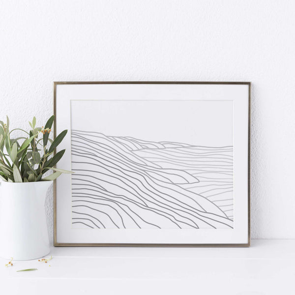 Gray Line Coastline Modern Minimalist Coastal Wall Art Print or Canvas - Jetty Home