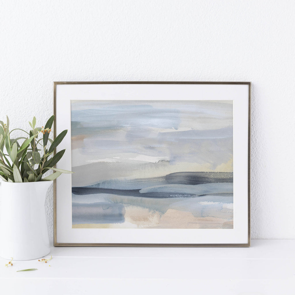 Modern Beach Water Painting Wall Art Print or Canvas - Jetty Home