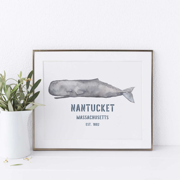 Sperm Whale Nantucket Sign Nautical Wall Art Print or Canvas - Jetty Home