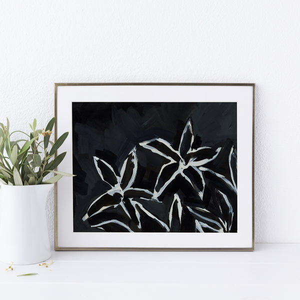 Black and Cream Lily Painting Wall Art Print or Canvas - Jetty Home