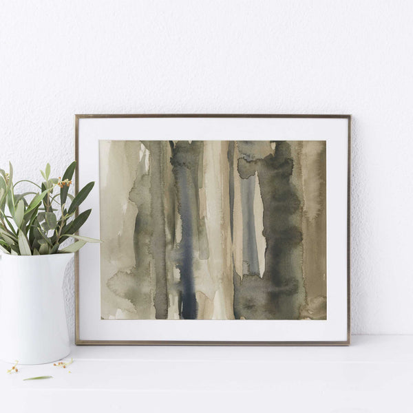 Abstract Forest Woodland Watercolor Painting Wall Art Print or Canvas - Jetty Home