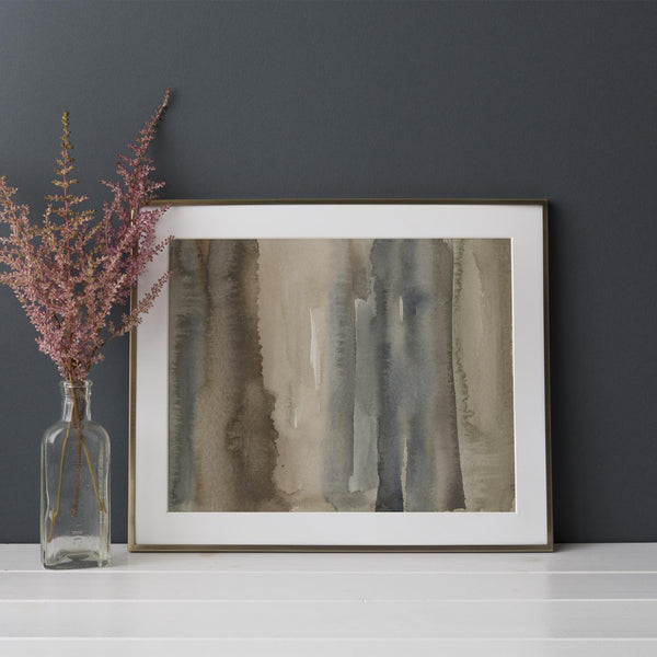 Neutral Earth Tones Abstract Forest Watercolor Painting Wall Art Print or Canvas - Jetty Home