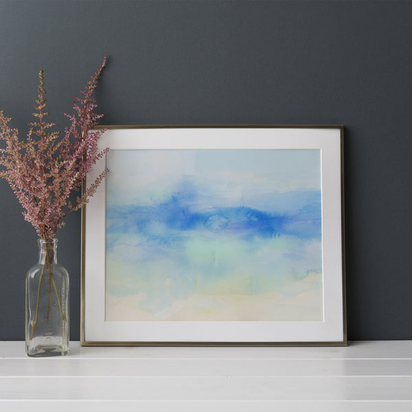 Watercolor Abstract Coastal Ocean Turquoise Wall Art Print or Canvas - Jetty Home