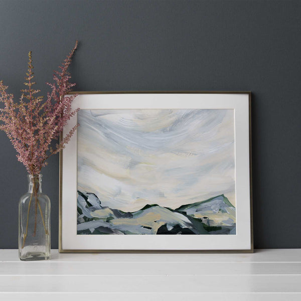 Mountainscape Modern Neutral Painting Wall Art Print or Canvas - Jetty Home