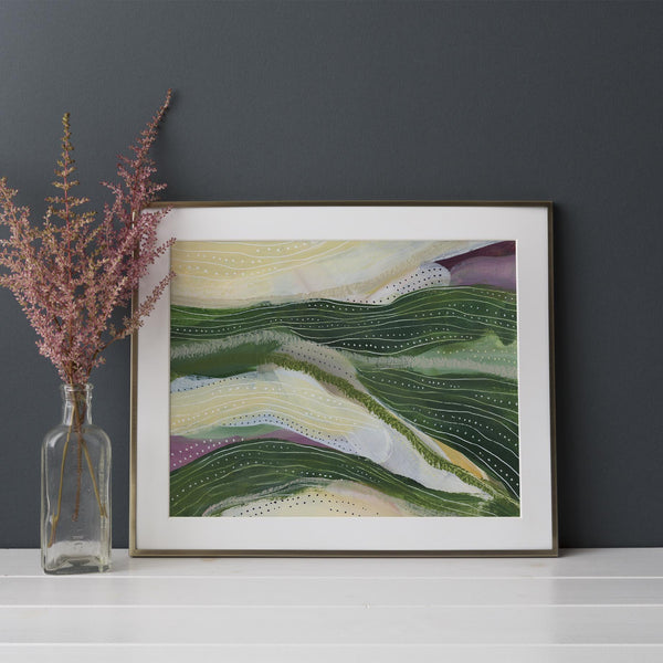 Green Landscape Countryside Abstract Painting Wall Art Print or Canvas - Jetty Home