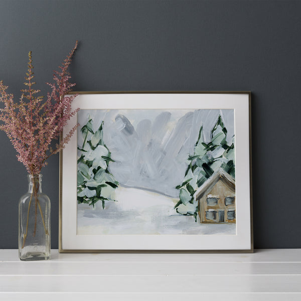 Winter Scene Snow Covered Cozy Cabin Wall Art Print or Canvas - Jetty Home