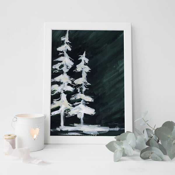 Dark Green White Evergreen Painting Pine Tree Forest Wall Art Print or Canvas - Jetty Home
