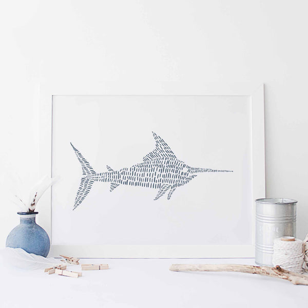 Swordfish Modern Blue and White Beach House Illustration Wall Art Print or Canvas - Jetty Home