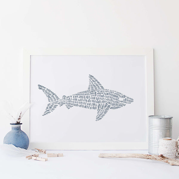 Great White Shark Modern Blue and White Beach House Illustration Wall Art Print or Canvas - Jetty Home