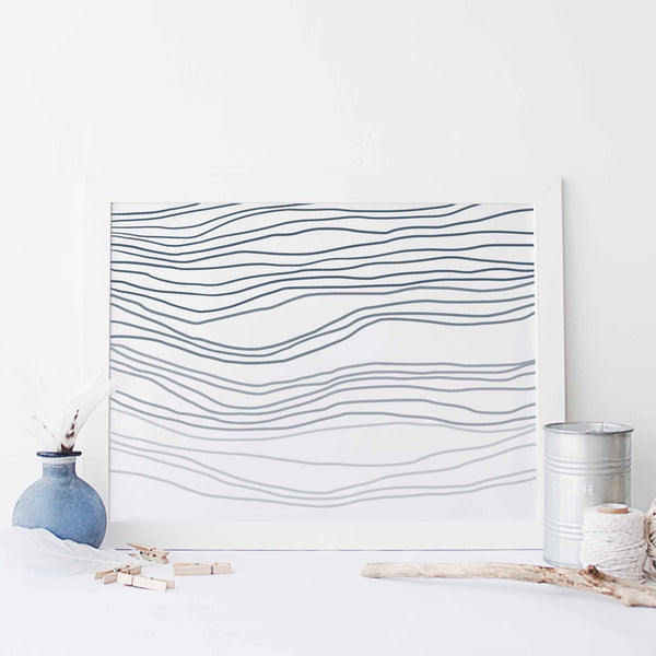 Blue Abstract Ocean Waves Wall Art Print or Canvas - Jetty Home