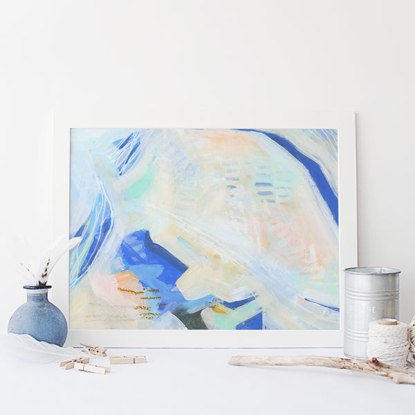 Light + Bright Coastal Inspired Ocean Painting Wall Art Print or Canvas - Jetty Home