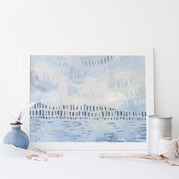 Light Abstract Coastline Painting Wall Art Print or Canvas - Jetty Home