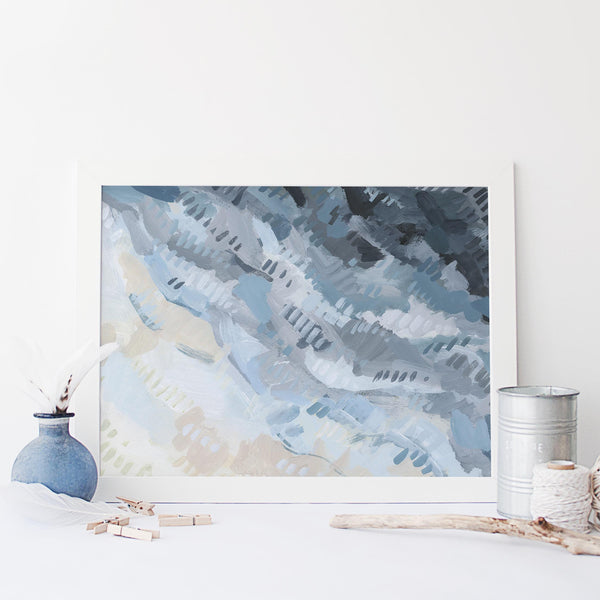 Ocean Shallow Aerial Beach Abstract Painting Blue Wall Art Print or Canvas - Jetty Home