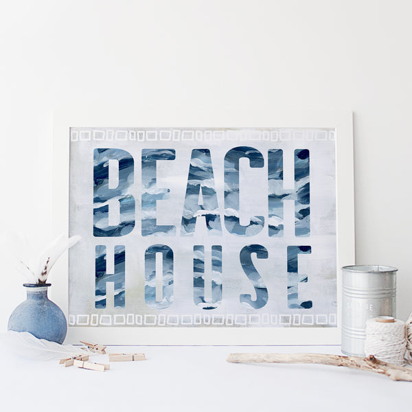 Beach House Sign Modern Coastal Wall Art Print or Canvas - Jetty Home