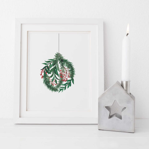 Watercolor Christmas Ornament Holly Leaves Wall Art Print or Canvas - Jetty Home
