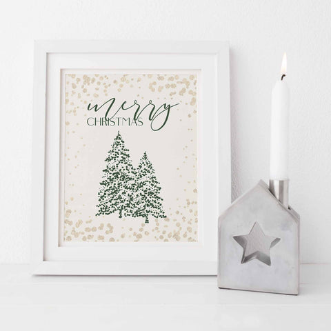 Merry Christmas Modern Gold and Cream Holiday Wall Art Print or Canvas - Jetty Home