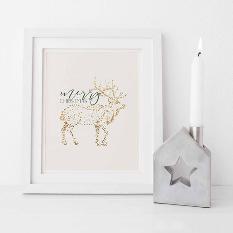 Merry Christmas Gold and Cream Chic Holiday Wall Art Print or Canvas - Jetty Home