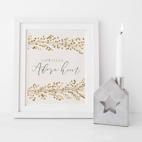 Come Let Us Adore Him Gold and Cream Christmas Wall Art Print or Canvas - Jetty Home