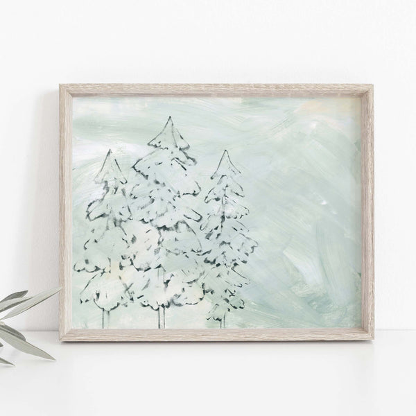 Pine Tree Simple Minimalist Illustration Painting Wall Art Print or Canvas - Jetty Home