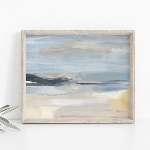 Coastline Abstract Painting Light Blue and Beige Wall Art Print or Canvas - Jetty Home