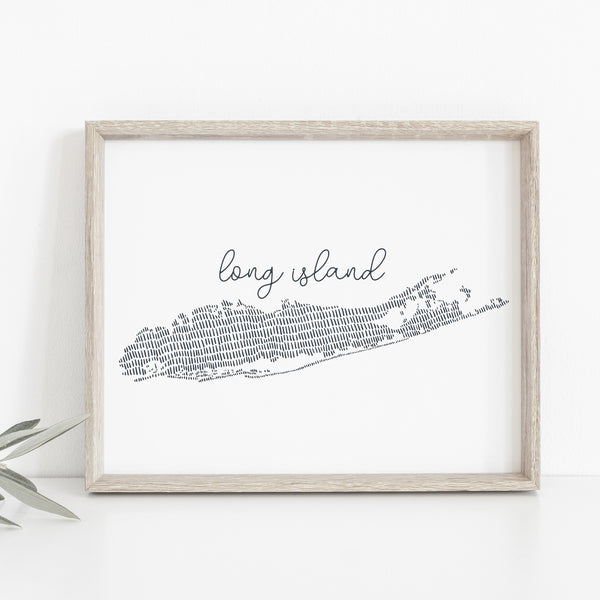 Long Island Modern Map Wall Art Print or Canvas - Jetty Home