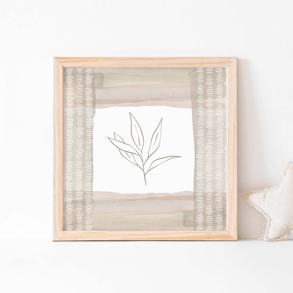 Modern Botanical Line Drawing Neutral Earthy Nursery Wall Art Print or Canvas - Jetty Home