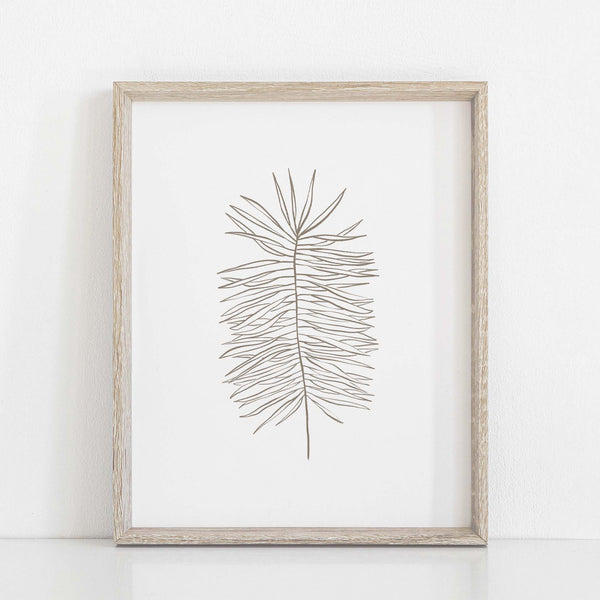 Palm Frond Modern Plant Line Illustration Wall Art Print or Canvas - Jetty Home