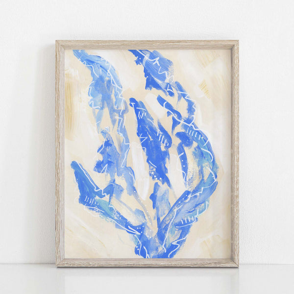 Modern Seaweed Sea Lettuce Blue and Tan Painting Wall Art Print or Canvas - Jetty Home