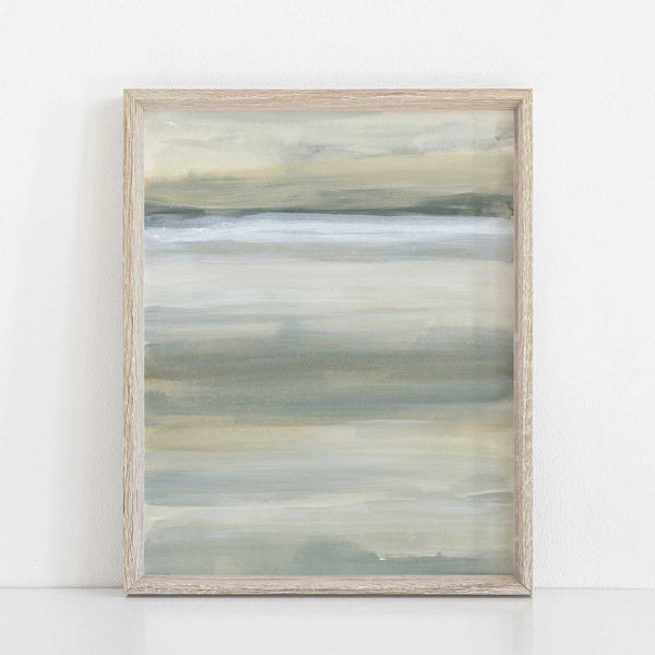 Abstract Modern Neutral Lake Painting Wall Art Print or Canvas - Jetty Home