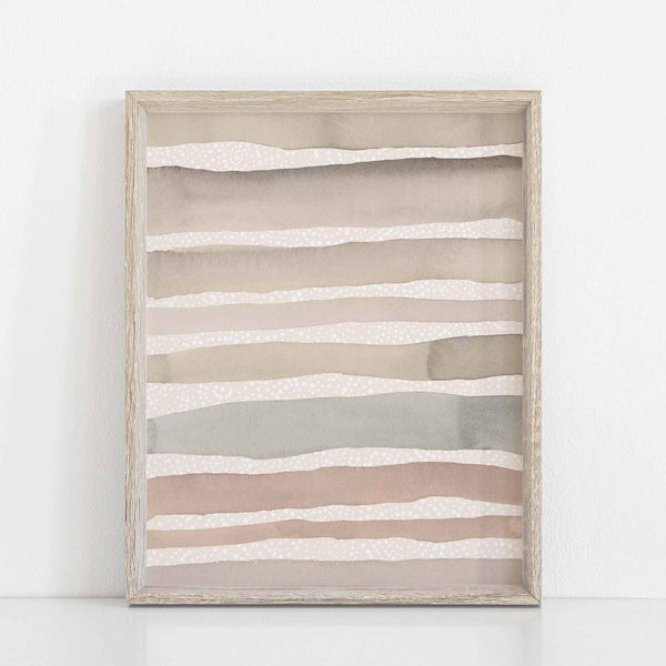 Neutral Watercolor Stripes Modern Earth Tones Wall Art Print or Canvas - Jetty Home