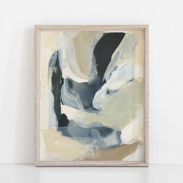 Abstract Beige and Navy Contemporary Trendy Wall Art Print or Canvas - Jetty Home