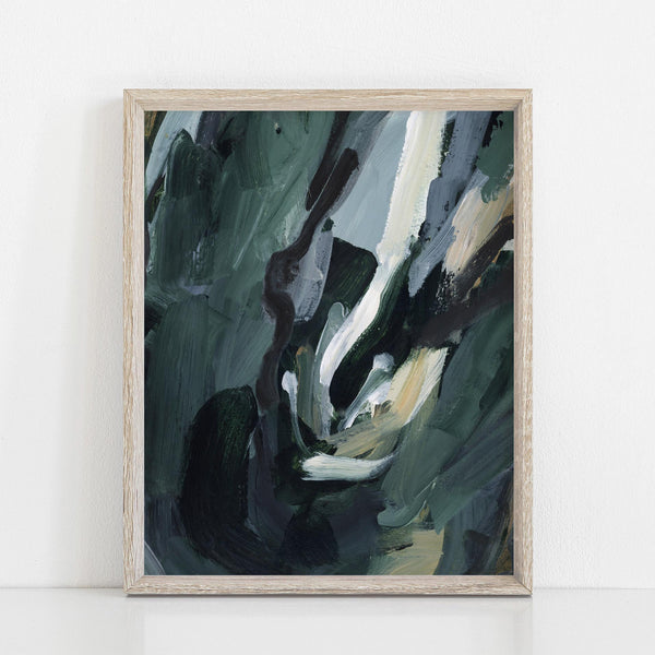 Dark Green Moody Forest Abstract Painting Wall Art Print or Canvas - Jetty Home