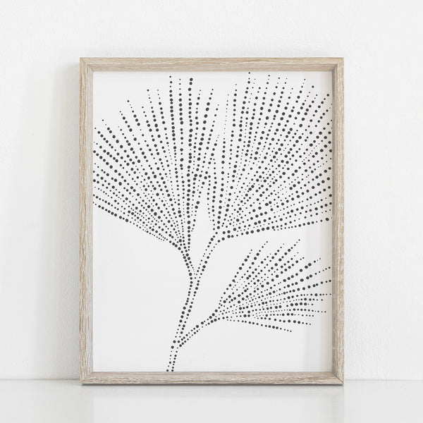 Minimalist Pine Branch Needles Drawing Wall Art Print or Canvas - Jetty Home