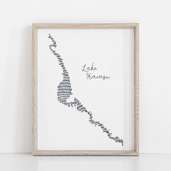 Lake Havasu Modern Map Illustration Wall Art Print or Canvas - Jetty Home
