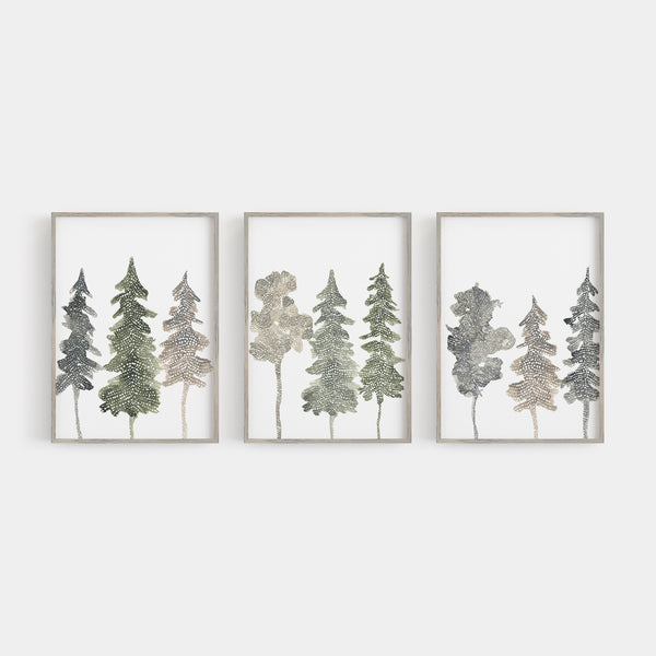 Mystical Forest Trees Watercolor Triptych Set of 3 Wall Art Prints or Canvases - Jetty Home