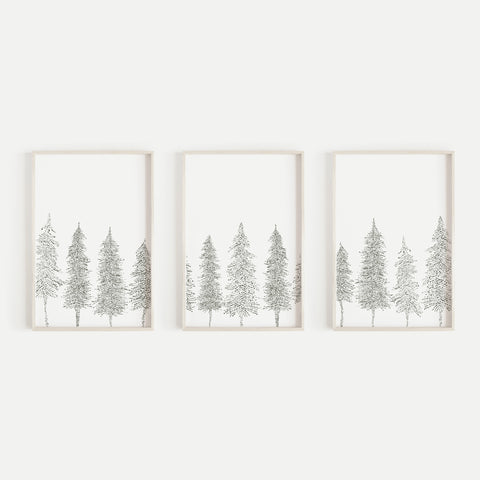 Pine Tree Line Scandinavian Triptych Set of 3 Wall Art Prints or Canvases - Jetty Home