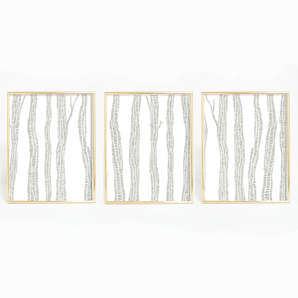 Abstract Gray Birch Trees Forest Triptych Wall Art Print or Canvas - Jetty Home
