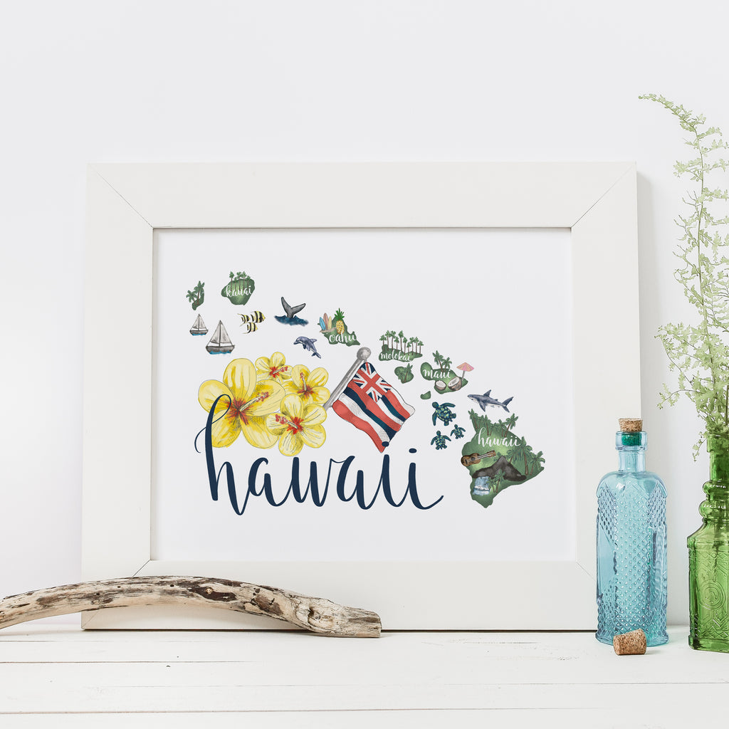 graphic about Printable Map of Hawaiian Islands known as Hawaiian Islands Region Map Artwork Print