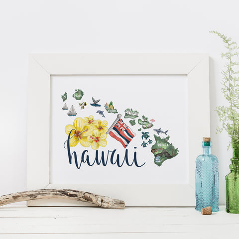 Hawaiian Islands State Map Art Print - Jetty Home