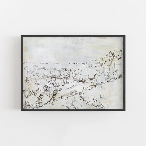 Rustic Meadow Mountain Sketch Rustic Landscape Wall Art Print or Canvas - Jetty Home