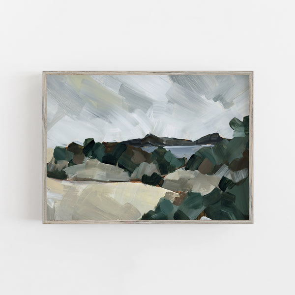 Bold Neutral Landscape Painting Scenic View Wall Art Print or Canvas - Jetty Home
