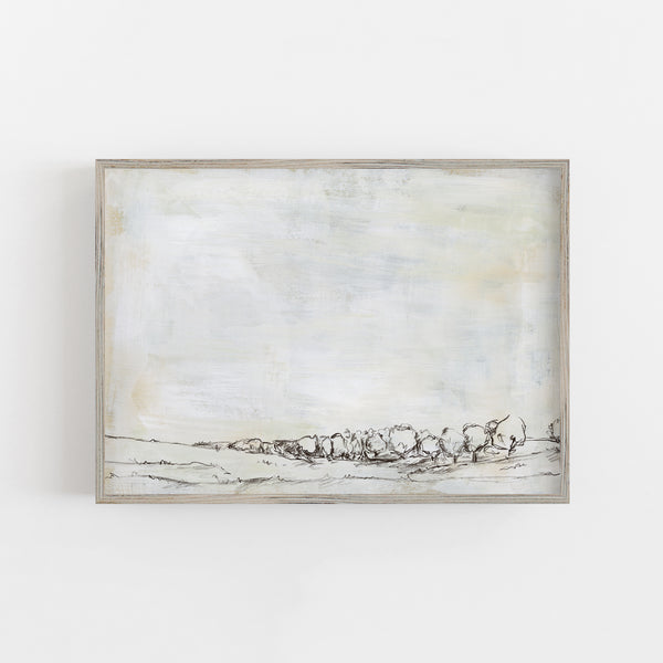 Minimalist Rustic Neutral Landscape Wall Art Print or Canvas - Jetty Home
