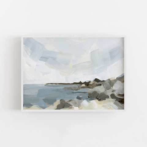 Beach Seascape Coastline Painting Neutral Wall Art Print or Canvas - Jetty Home
