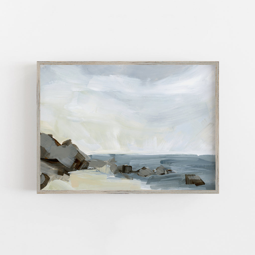 Coastline Neutral Painting Seashore Wall Art Print or Canvas - Jetty Home