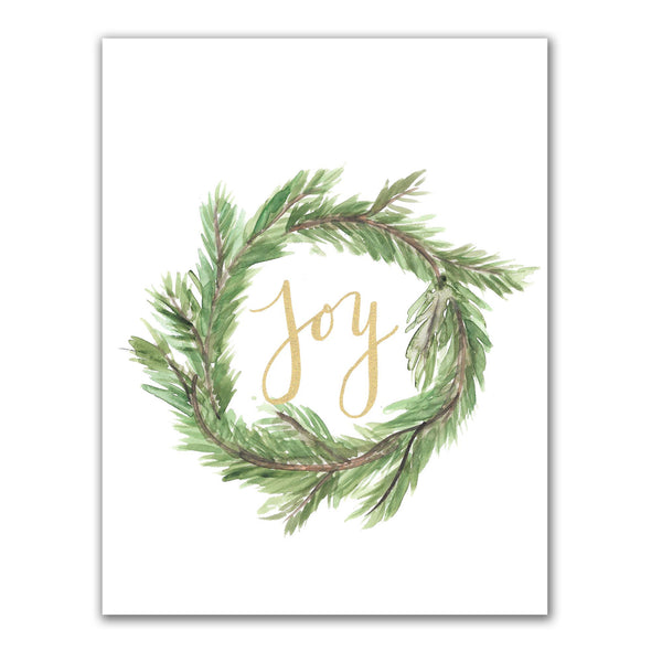 Joy Christmas Wreath Wall Art Print