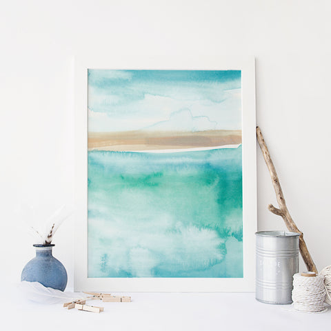 Modern Beach Painting Blue Green Watercolor Wall Art Print - Jetty Home