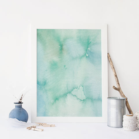 Blue Green Ocean Coastal Watercolor Painting Wall Art Print - Jetty Home
