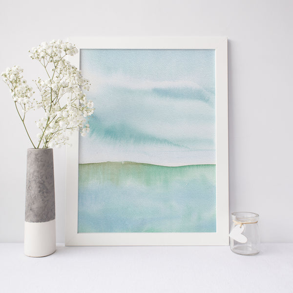 Modern Seascape Watercolor Painting Wall Art Print or Canvas - Jetty Home