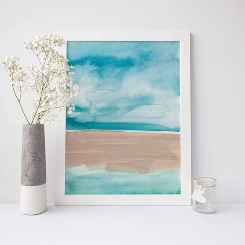Abstract Beach Ocean Painting Watercolor Wall Art Print - Jetty Home