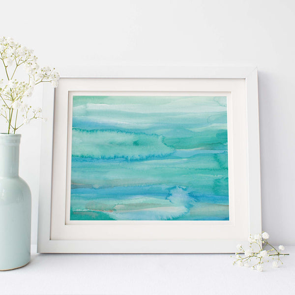 Modern Blue Green Beach Abstract Watercolor Wall Art Print or Canvas - Jetty Home
